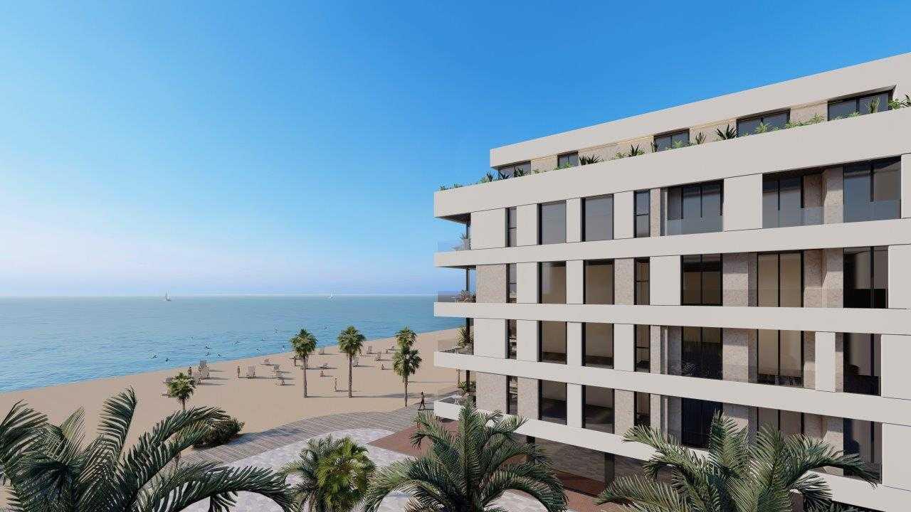 Appartementen uitkijkend over zee